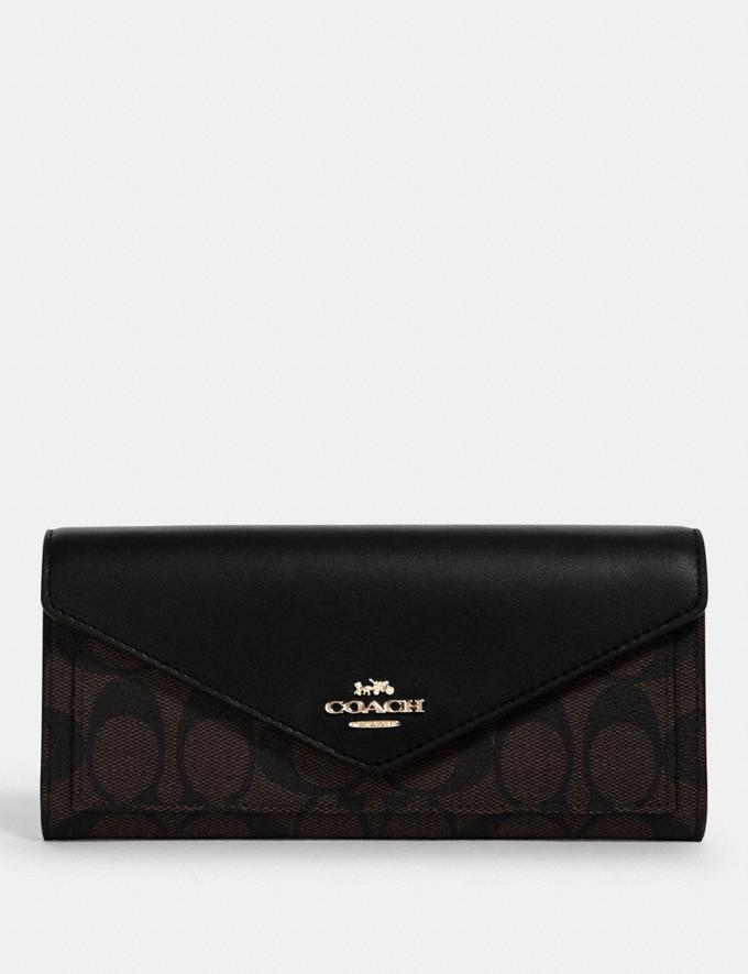 Coach Slim Envelope Wallet in Signature Canvas Im/Brown Black