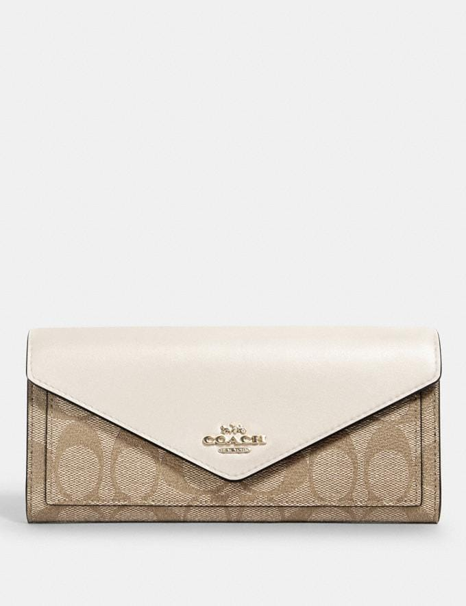 Coach Slim Envelope Wallet in Signature Canvas Im/Light Khaki Chalk
