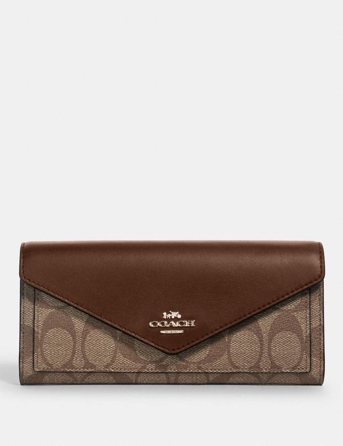 Coach Slim Envelope Wallet in Signature Canvas Im/Khaki Saddle 2