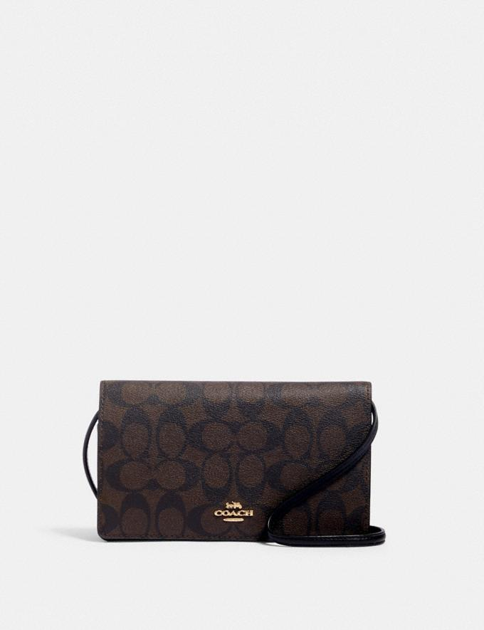 Coach Anna Foldover Crossbody Clutch in Signature Canvas Im/Brown Black