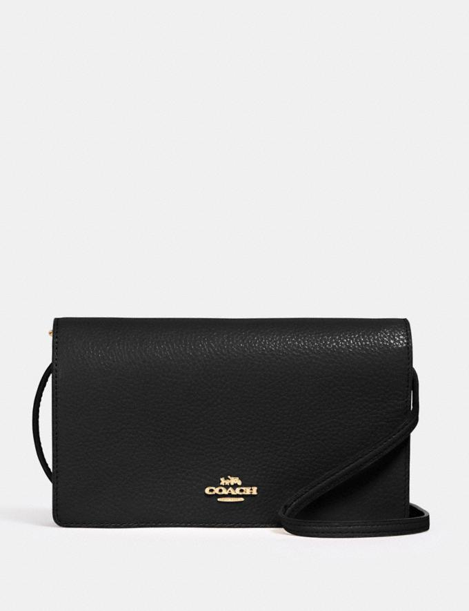 Coach Anna Foldover Crossbody Clutch Im/Black Deals Finds Under $100