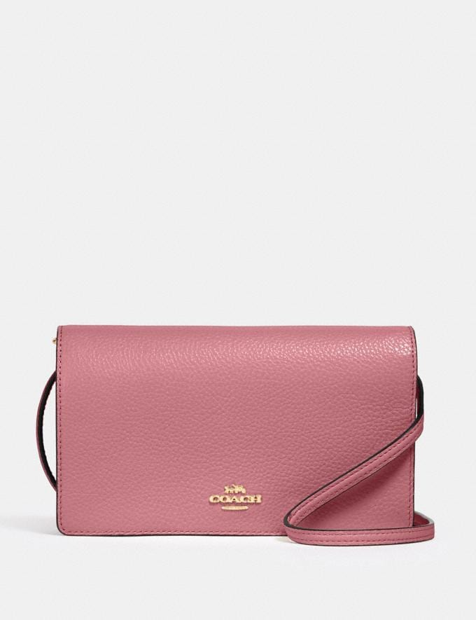 Coach Anna Foldover Crossbody Clutch Im/Rose Deals Finds Under $100