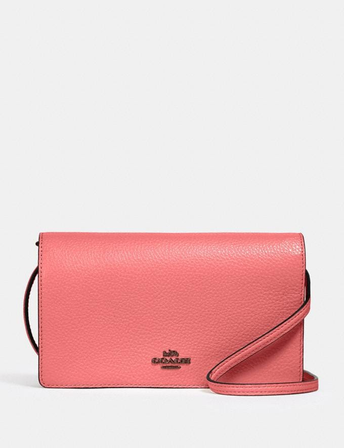 Coach Anna Foldover Crossbody Clutch Qb/Pink Lemonade Clearance New To Clearance