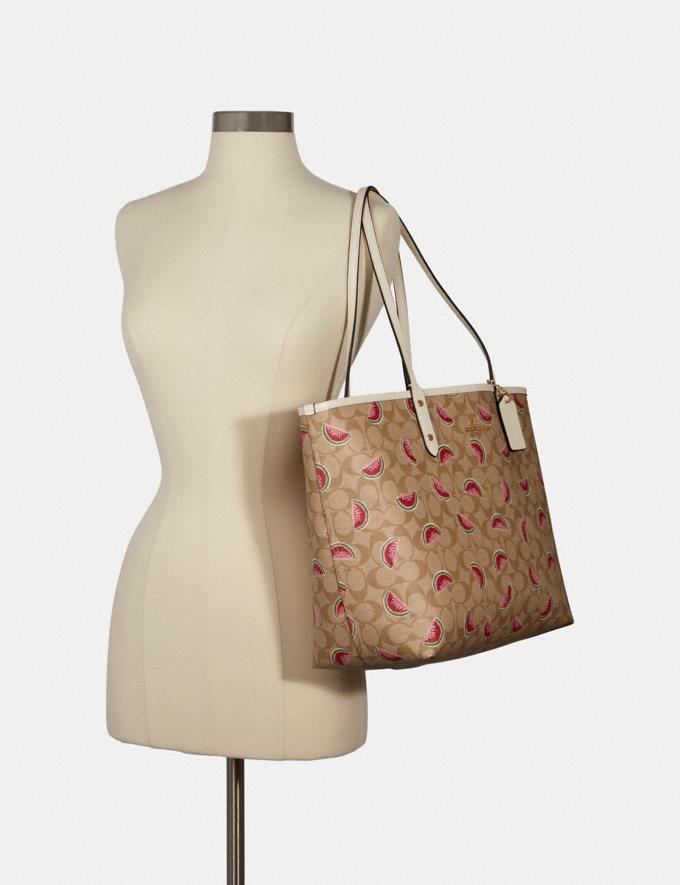 Coach Reversible City Tote in Signature Canvas With Watermelon Print Im/Lt Khaki/Red Multi/Chalk Deals Just Reduced Alternate View 3