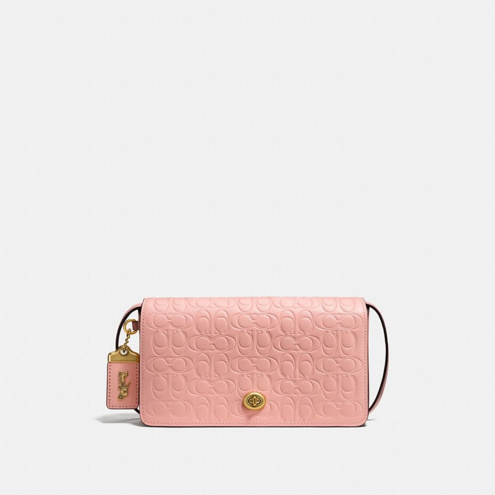 Coach Dinky in Signature Leather With Floral Bow Print Interior