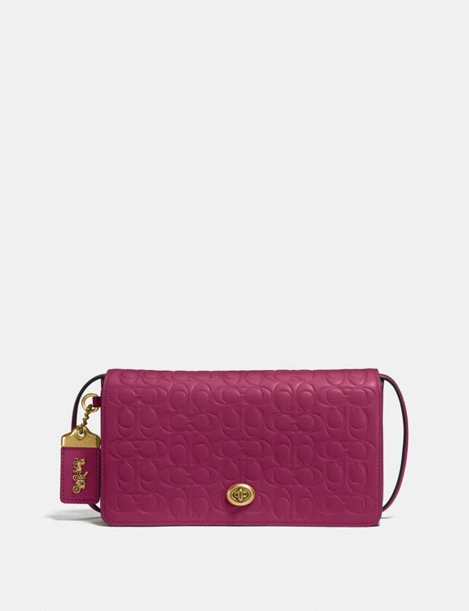 Coach Dinky in Signature Leather Bright Cherry/Brass Women Bags Crossbody Bags