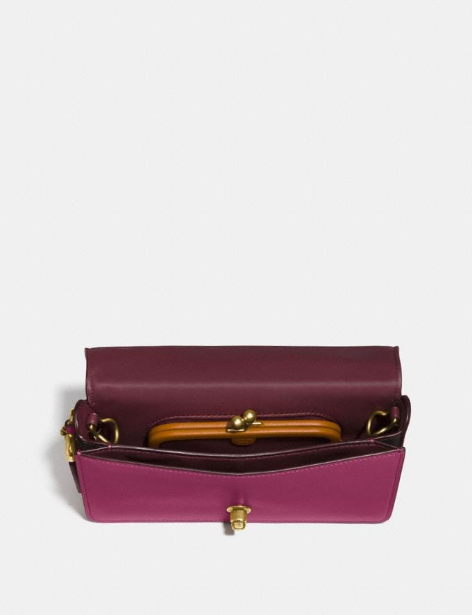 Coach Dinky in Signature Leather Bright Cherry/Brass Women Bags Crossbody Bags Alternate View 2