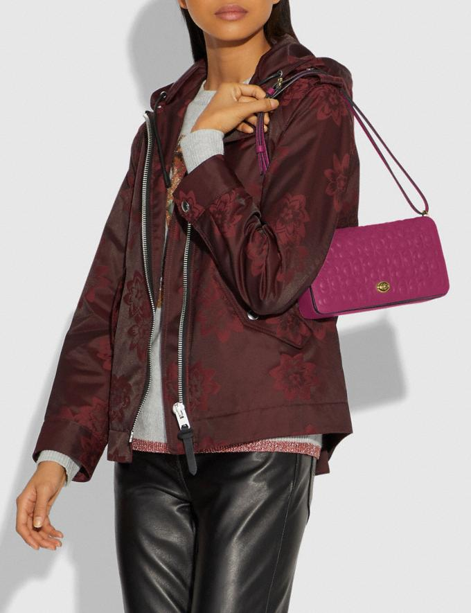 Coach Dinky in Signature Leather Bright Cherry/Brass Women Bags Crossbody Bags Alternate View 5