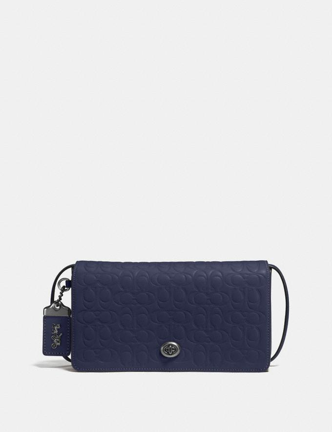 Coach Dinky in Signature Leather Midnight Navy/Black Copper Gifts For Her