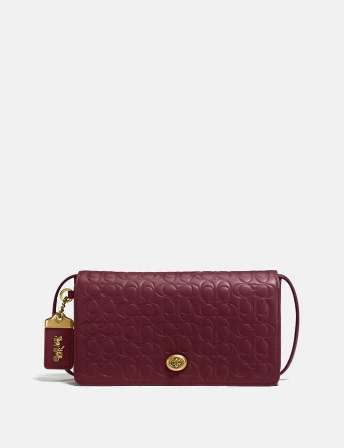 Coach Dinky in Signature Leather Bordeaux/Brass Women Bags Crossbody Bags