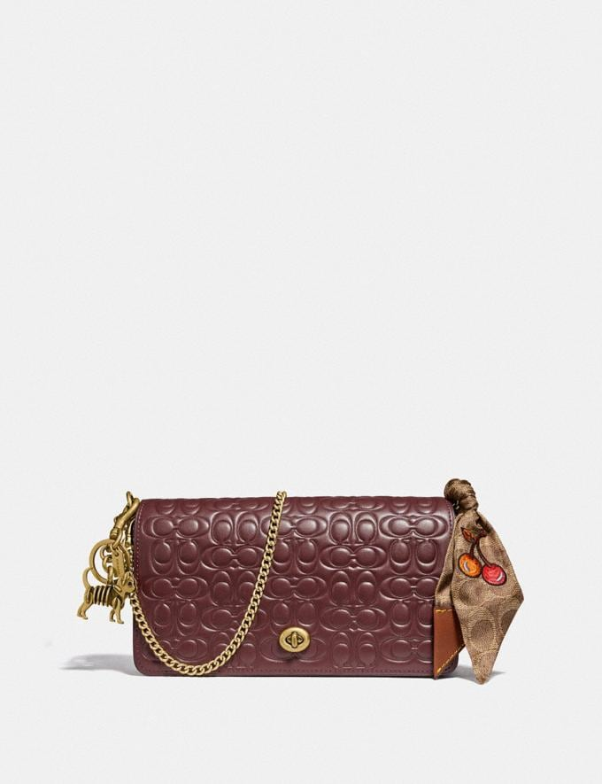 Coach Dinky in Signature Leather Bordeaux/Brass Women Bags Crossbody Bags Alternate View 3