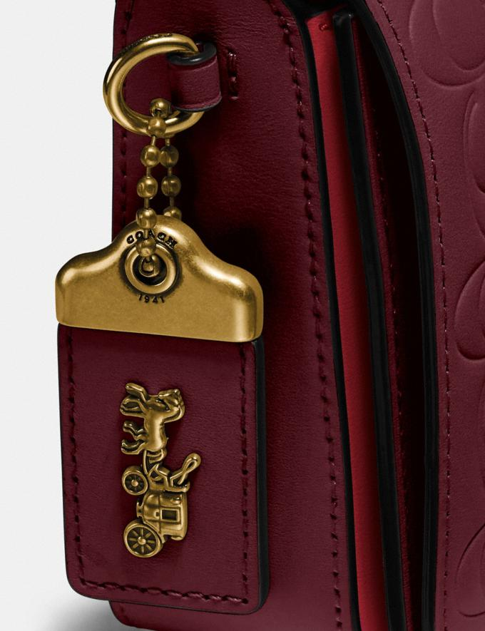 Coach Dinky in Signature Leather Bordeaux/Brass Women Bags Crossbody Bags Alternate View 6