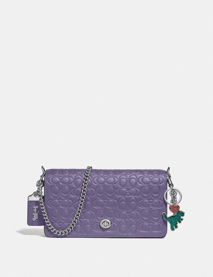 Coach Dinky in Signature Leather Dusty Lavender/Silver Women Bags Alternate View 3