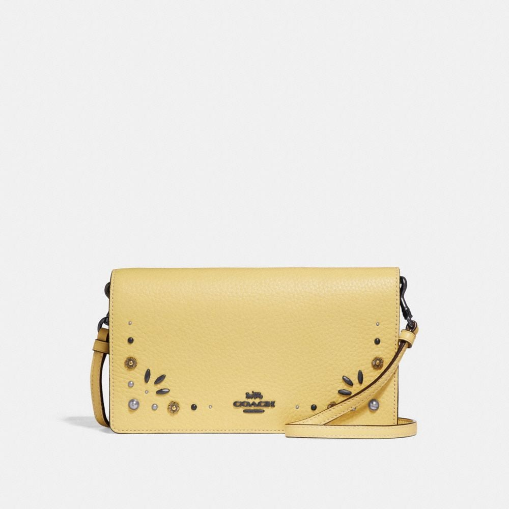FOLDOVER CROSSBODY CLUTCH WITH PRAIRIE RIVETS DETAIL