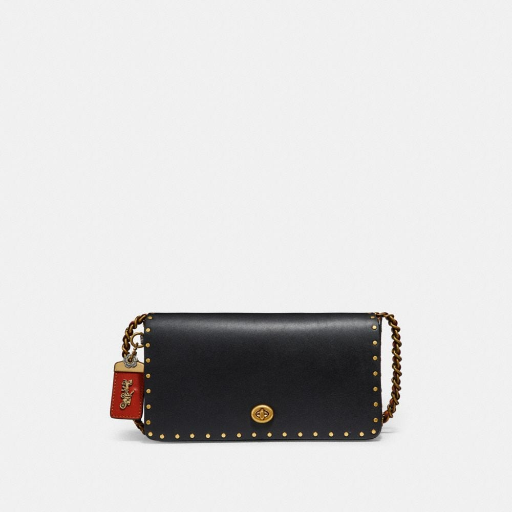 COACH DINKY WITH RIVETS AND SNAKESKIN DETAIL - WOMEN'S