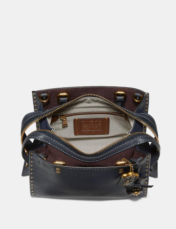 Coach Rogue 25 With Rivets Heather Grey/Black Copper Women Bags Shoulder Bags Alternate View 2