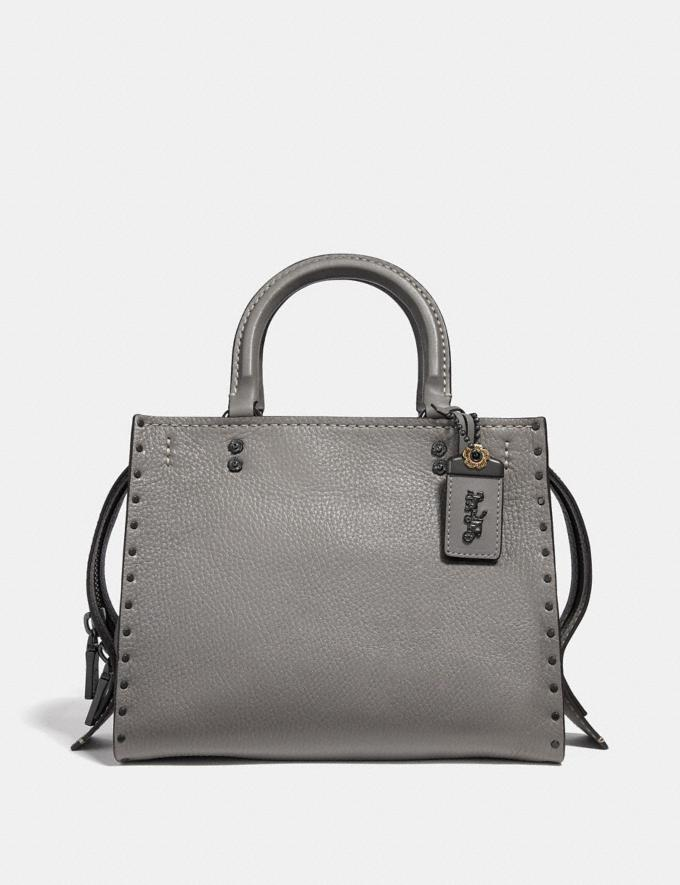Coach Rogue 25 With Rivets Heather Grey/Black Copper Women Bags Shoulder Bags