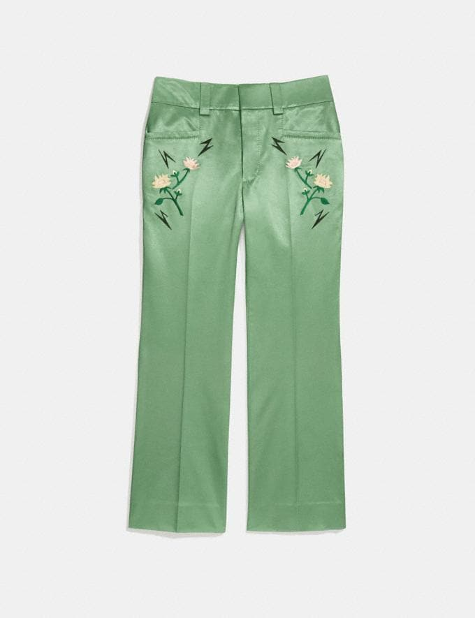 Coach Satin Tailored Trousers Dusty Green