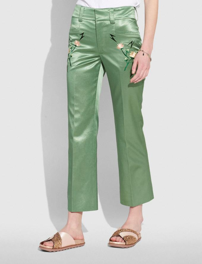 Coach Satin Tailored Trousers Dusty Green  Alternate View 1
