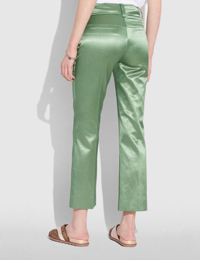 Coach Satin Tailored Trousers Dusty Green  Alternate View 2