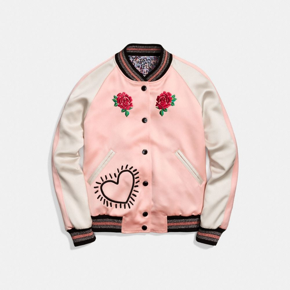 X Keith Haring Reversible Bomber Jacket, Pajama Pink/Light Blue from COACH