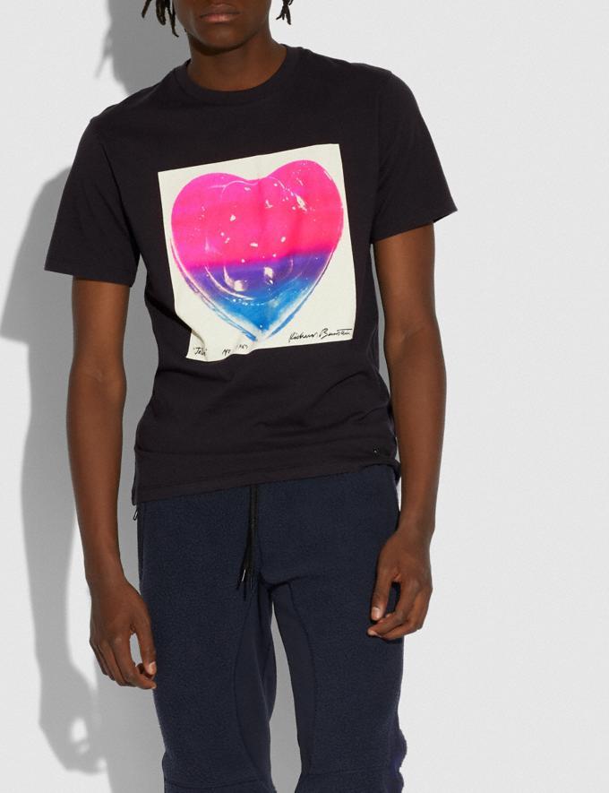 Coach Coach X Richard Bernstein Pink and Blue Jello Heart T-Shirt Black New Men's New Arrivals Ready-to-Wear Alternate View 1