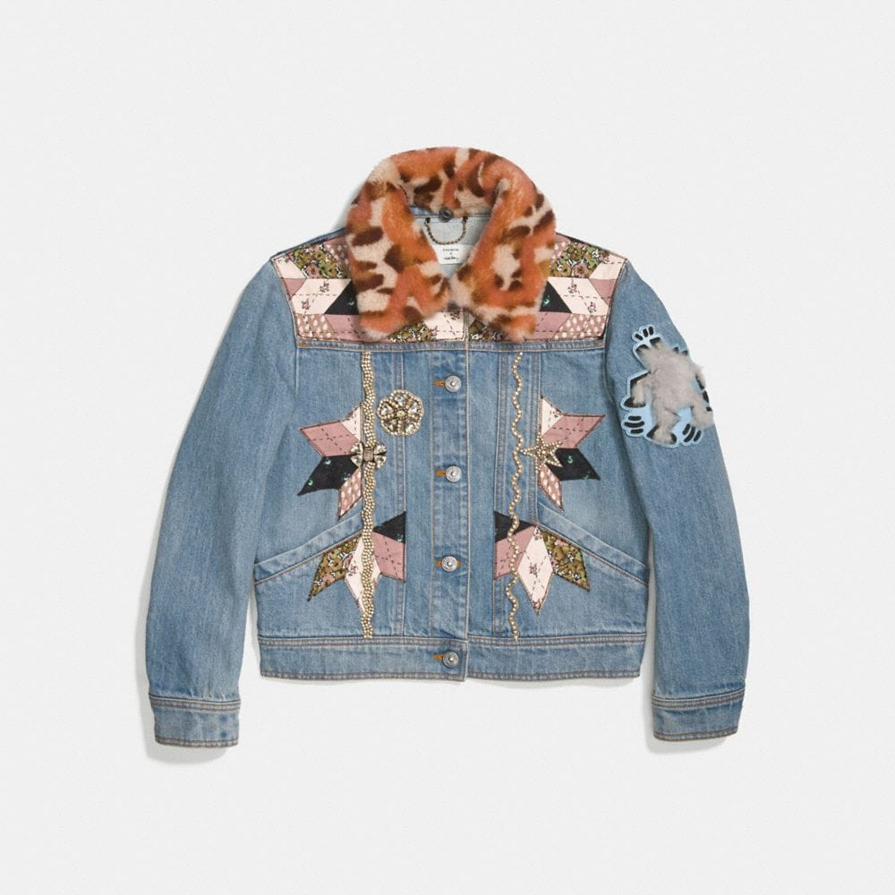 Coach Embellished Quilted Patchwork Denim Jacket