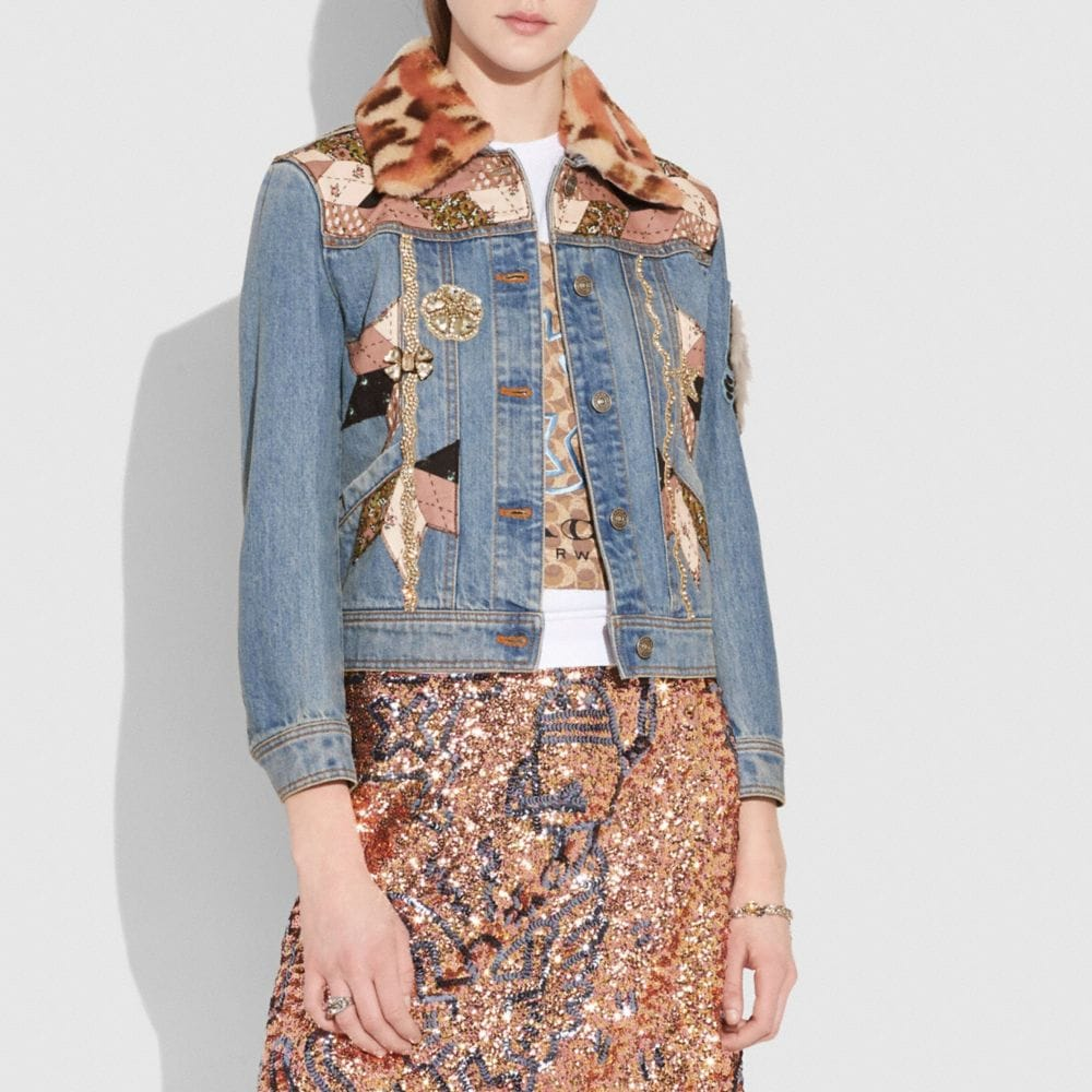 Coach Embellished Quilted Patchwork Denim Jacket Alternate View 1