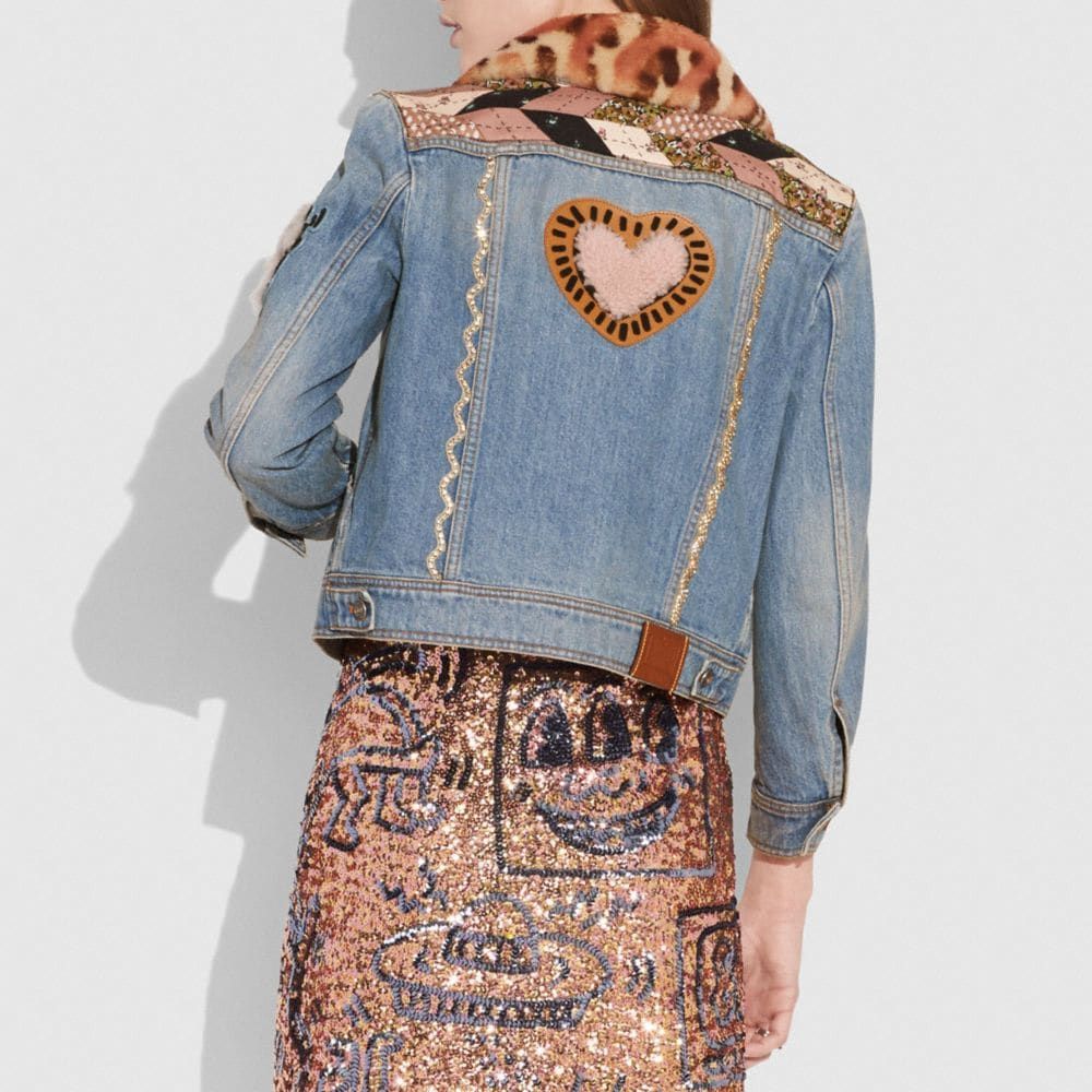 Coach Embellished Quilted Patchwork Denim Jacket Alternate View 2