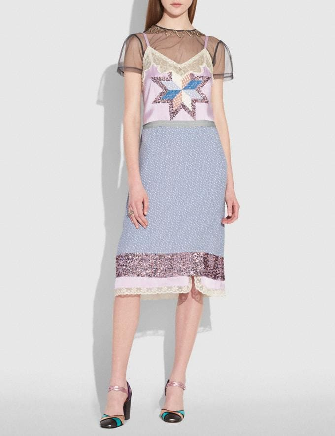 Coach Quilted Patchwork Slip Dress Pale Lilac  Alternate View 1
