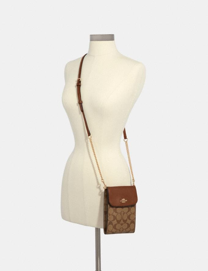Coach Rachel Phone Crossbody in Signature Canvas Im/Khaki Saddle 2  Alternate View 2