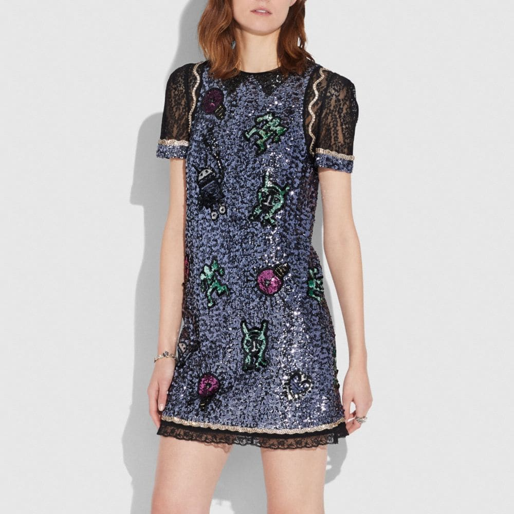COACH X KEITH HARING EMBELLISHED SHIFT DRESS