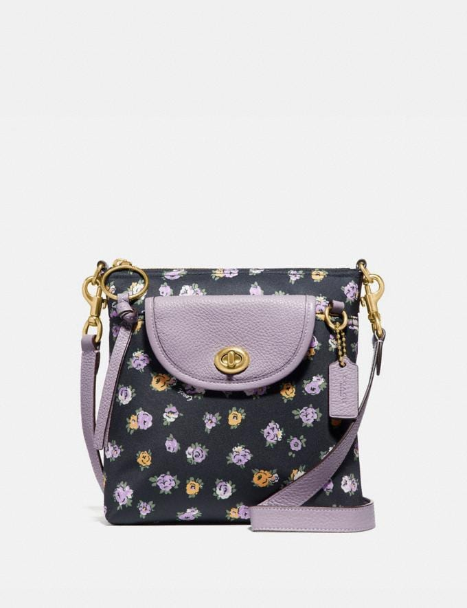 Coach Cargo Crossbody With Vintage Rose Print Brass/Midnight Navy Gifts For Her Under $300