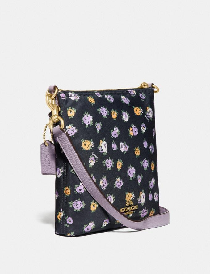 Coach Cargo Crossbody With Vintage Rose Print Brass/Midnight Navy Women Handbags Crossbody Bags Alternate View 1