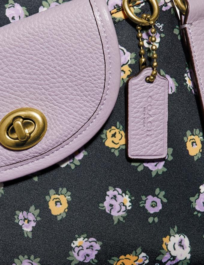 Coach Cargo Crossbody With Vintage Rose Print Brass/Midnight Navy Women Handbags Crossbody Bags Alternate View 5