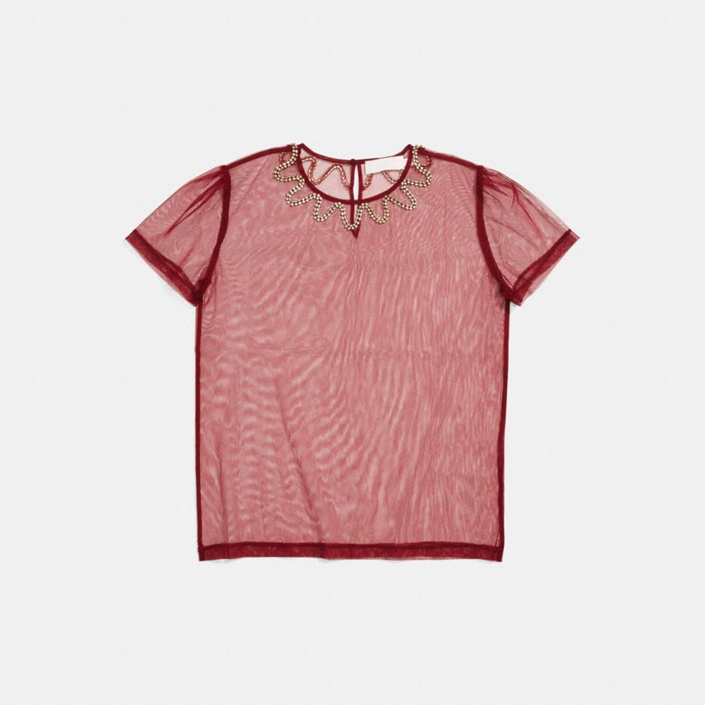 Coach Embellished Tulle T-Shirt