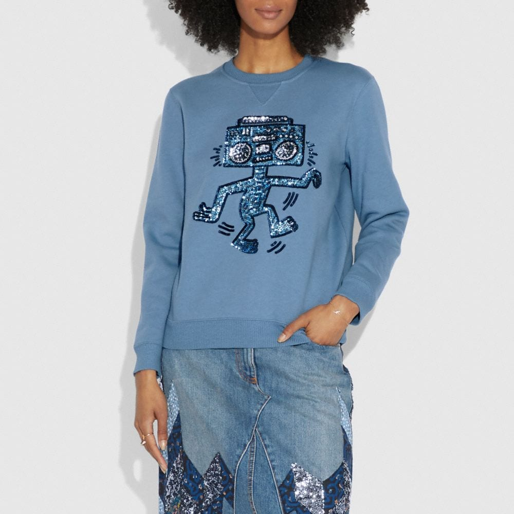 COACH X KEITH HARING EMBELLISHED SWEATSHIRT