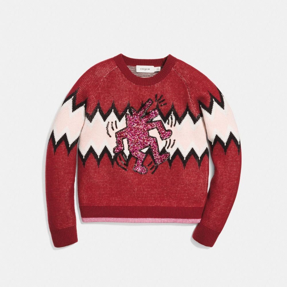 COACH X KEITH HARING ZIGZAG CREWNECK SWEATER