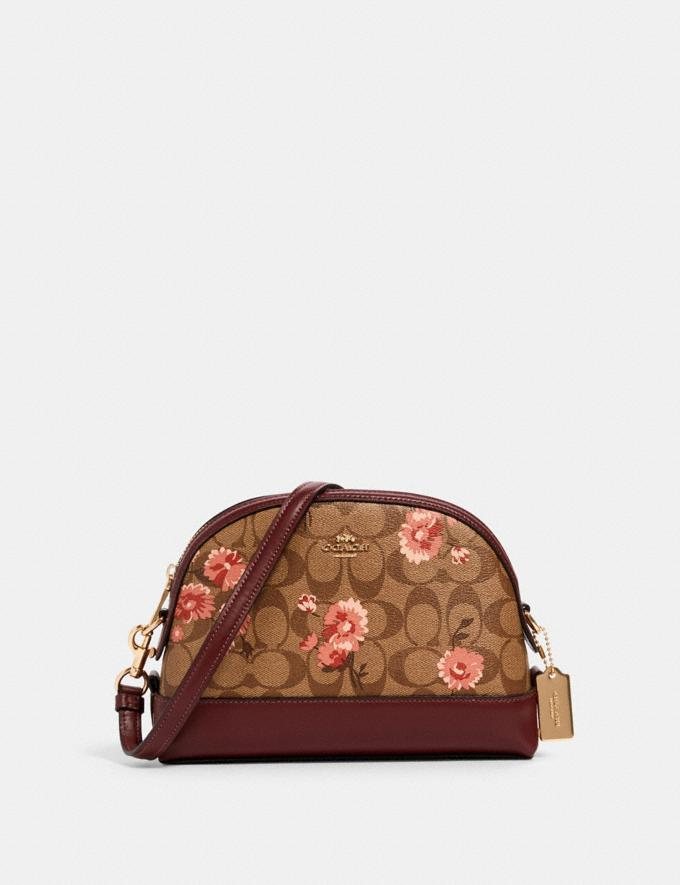 Coach Dome Crossbody in Signature Canvas With Prairie Daisy Cluster Print Im/Khaki Coral Multi