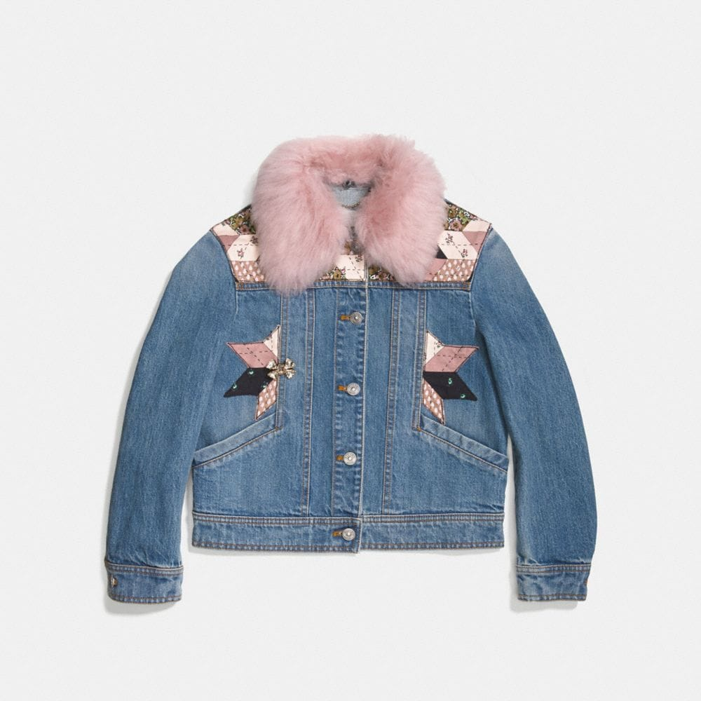 Coach Quilted Patchwork Denim Jacket Alternate View 1