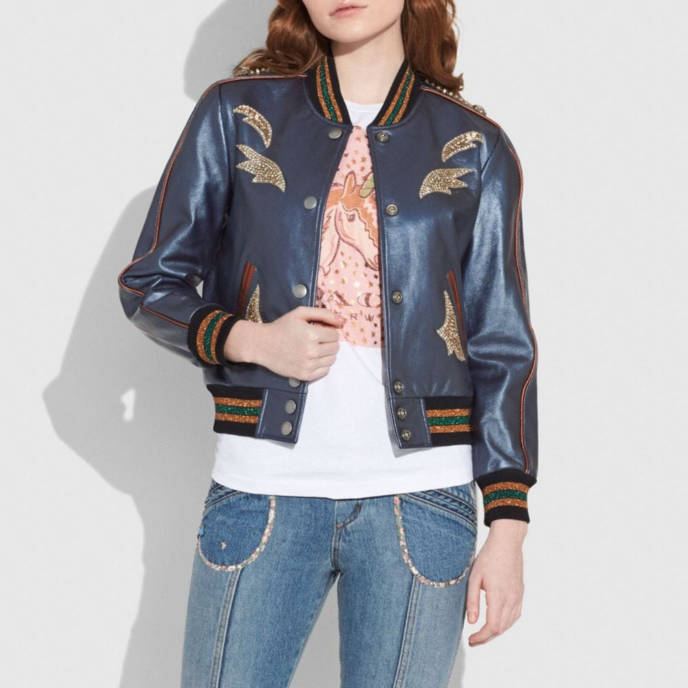 shrunken leather varsity jacket