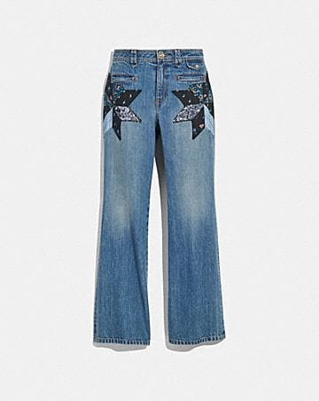 QUILTED PATCHWORK DENIM PANTS