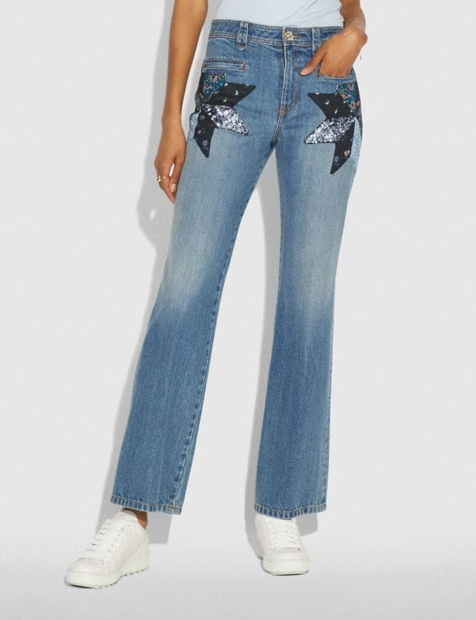 Coach Quilted Patchwork Denim Pants Blue  Alternate View 1