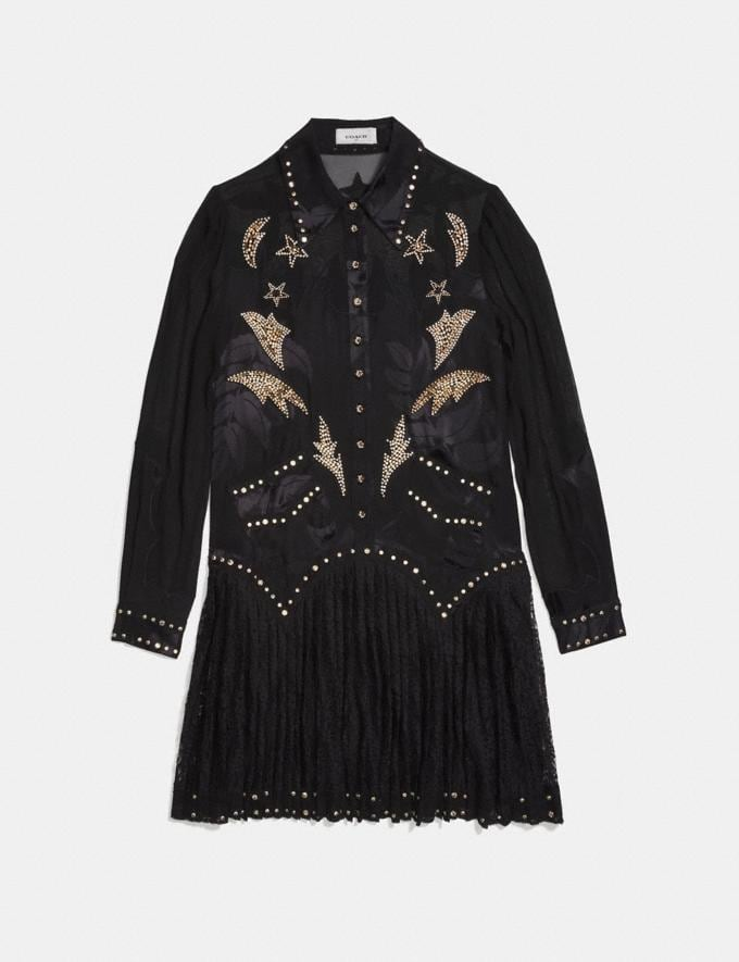 Coach Crystal Embellished Western Dress Black