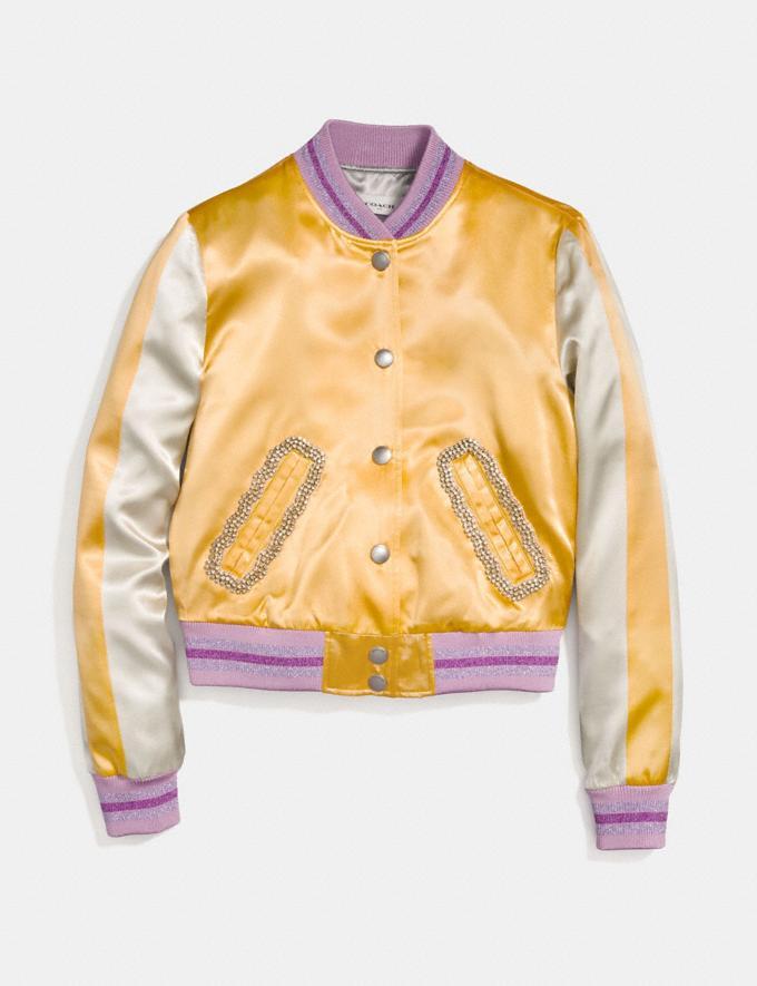 Coach Satin Varsity Jacket Dirty Gold Women Ready-to-Wear Coats & Jackets