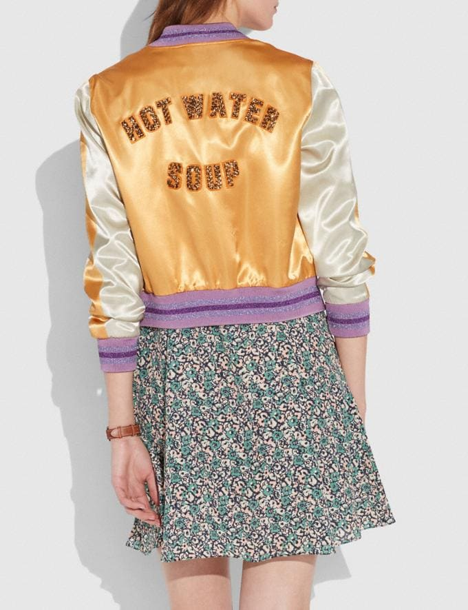 Coach Satin Varsity Jacket Dirty Gold Women Ready-to-Wear Coats & Jackets Alternate View 2