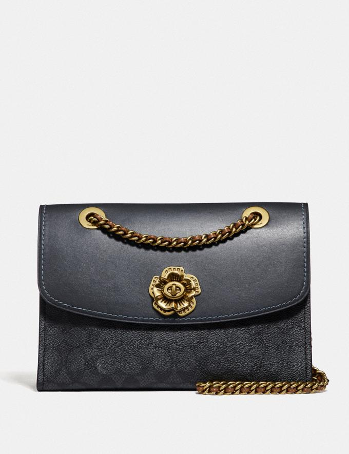 Coach Parker in Colorblock Signature Canvas Charcoal/Midnight Navy/Brass Women Bags Shoulder Bags