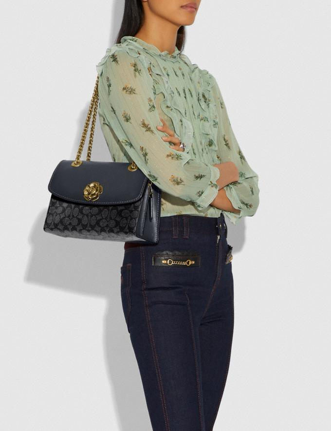 Coach Parker in Colorblock Signature Canvas Charcoal/Midnight Navy/Brass Women Bags Shoulder Bags Alternate View 5