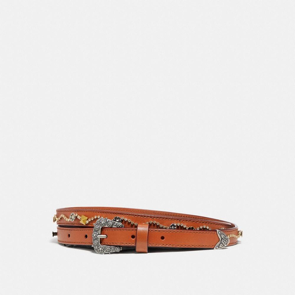 Coach Tea Rose Embellished Western Skinny Belt