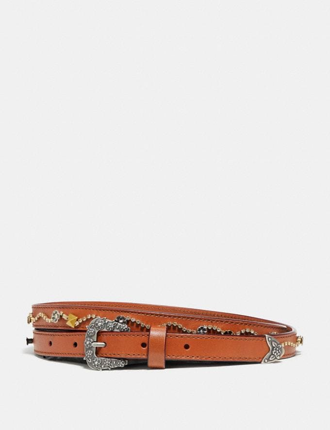 Coach Tea Rose Embellished Western Skinny Belt Light Saddle SALE Women's Sale Accessories